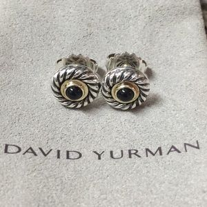 David Yurman Black Onyx Cable Cookie Earrings
