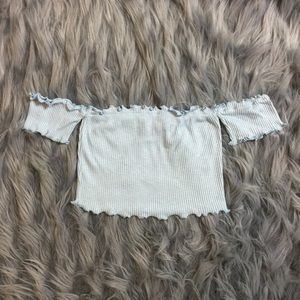 Wavy Crop Top - Baby Blue