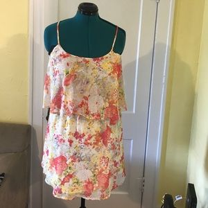 Tiered chiffon tank top straps dress