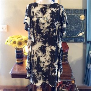 Silk Marble Print Ruffle Shift Dress Michael Kors