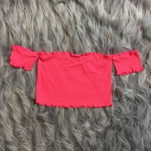 LF Tops - Wavy Crop Top - Fuchsia