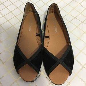 Cotton On Shoes - Cute black suede peep toe flats