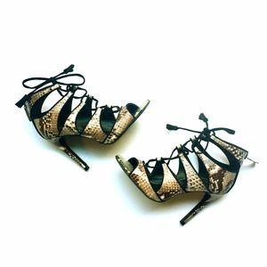 🎉500k SALE🎉Zara Snakeskin Laceup Heels