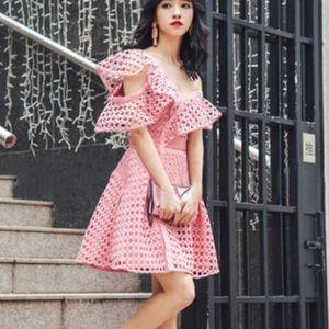 Self Portrait Dresses & Skirts - Self-portrait One-shoulder guipure-lace mini dress