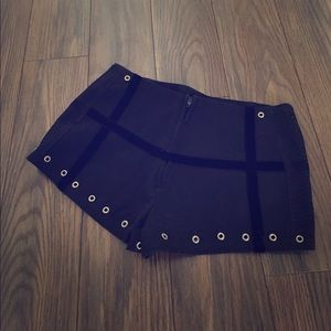 Pants - Funky black booty shorts with silver hardware