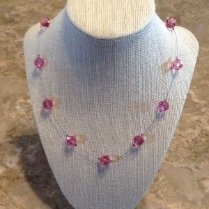 """Jewelry - Pink crystal necklace with extender 19"""""""