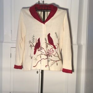 Beautiful Heavy Cardigan sweater with cardinals