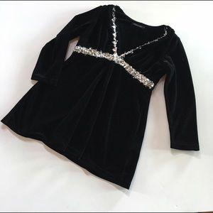 Boston Proper black velvet jeweled 3/4 sleeve top