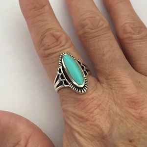 Jewelry - Sterling Silver Synthetic Turquoise Oval Ring