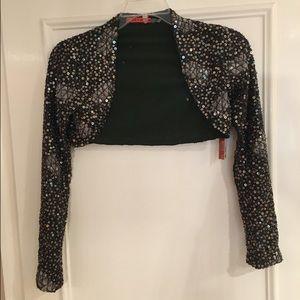 Alice + Olivia Jackets & Blazers - Alice + Olivia Cropped Olive NWT Sequin Jacket