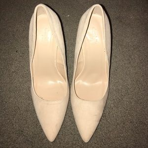 Charlotte Russe Shoes - Charlotte Russe Suede Nude Heels