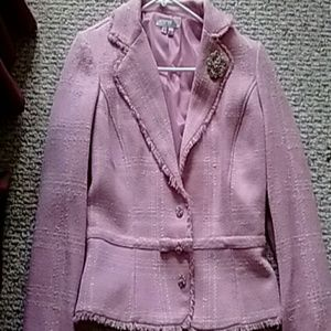 Ice Jackets & Blazers - Pink and White Dress Jacket