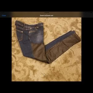 Denim w faux leather