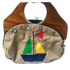 Classic wooden handled boating bag