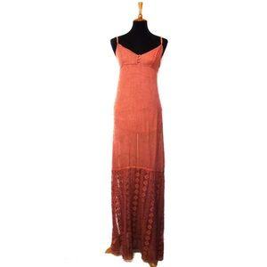 O'Neill Beachy Rust Maxi Dress Slip Lining Medium