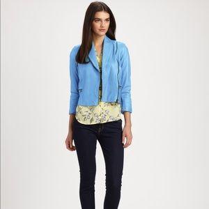 Alice & Olivia Jackets & Blazers - Alice + Olivia Paradise Blue Lamb Leather Jacket