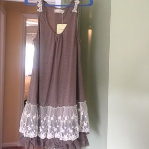 A'Reve Dresses & Skirts - Modcloth A'reve sleeveless brown dress lace tulle