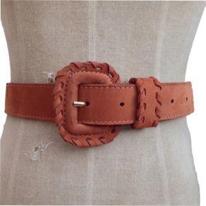 Vintage Accessories - [Vintage] Cognac Sueded Leather Belt [Boho Chic]