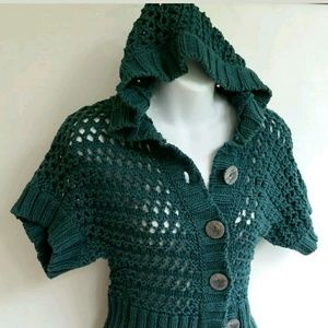 Free People Large Knit Hoodie Sweater Top Buttons