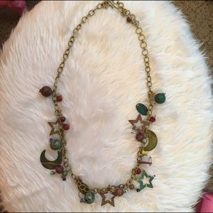 Jewelry - Gold multi metal stars & moons statement necklace