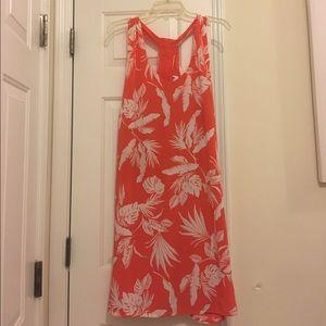 Cute Orange & White Print Lined Dress