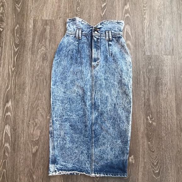 zena vintage 90s zena acid wash denim pencil skirt from