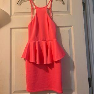 a'gaci Dresses & Skirts - Neon coral peplum dress