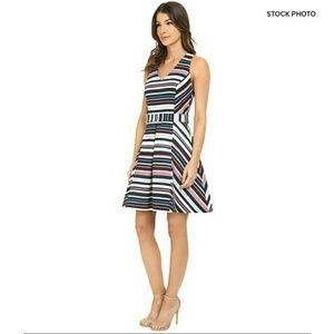 Adelyn Rae Dresses & Skirts - ADELYN RAE Striped Jacquard Cross Back Dress