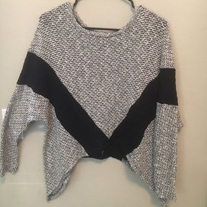 A Is For Audrey Tops - Semi sheer grey and black panel sweater