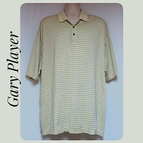 Gary Player Other - Men's Striped  Polo Shirt Pale Yellow Size 1X
