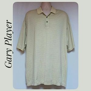 Gary Player Shirts - Men's Striped  Polo Shirt Pale Yellow Size 1X