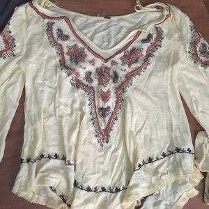 Yellow embroidered free people top. Size small.