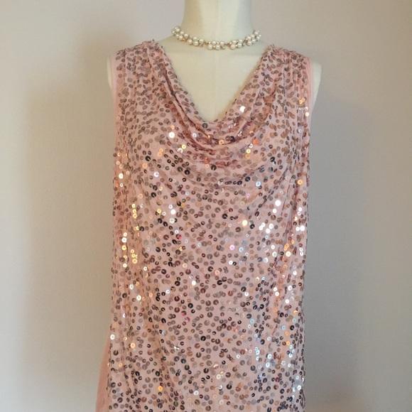 77d849bb791e9d Apt. 9 Rose Gold Pink Sequin Draped Top L NWT New