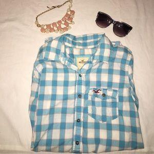 Hollister Baby Blue/Pink Flannel