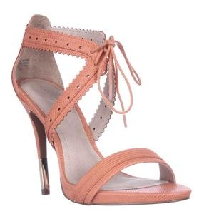 Pour la Victoire Shoes - Pour La Victoire orange and gold heeled sandals