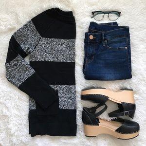 GAP Black and Grey Striped Sweater