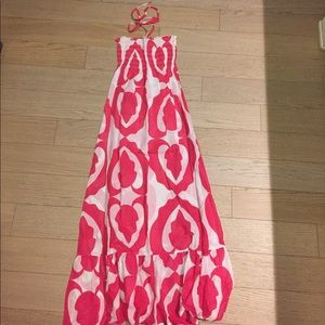 Echo Dresses & Skirts - Pink and white patterned strapless dress/coverup