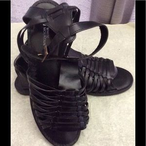 NEW White Mountain Black Leather Sandals 10M