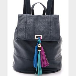 Deux Lux leather-like navy backpack with fringe!!!