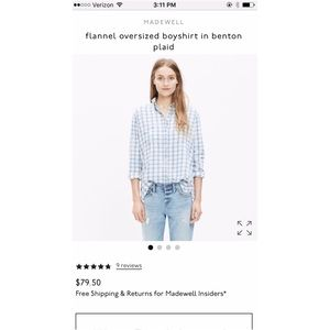NWT Madewell Benton plaid flannel