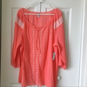 Women's Boho chic blouse in coral color . Size XXL