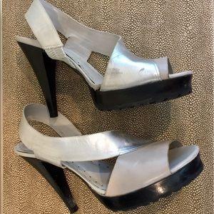 BCBGIrls Leather Silver Metallic Heels