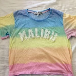 Wildfox Couture Tops - WILDFOX Malibu rainbow pastel colored crop tshirt