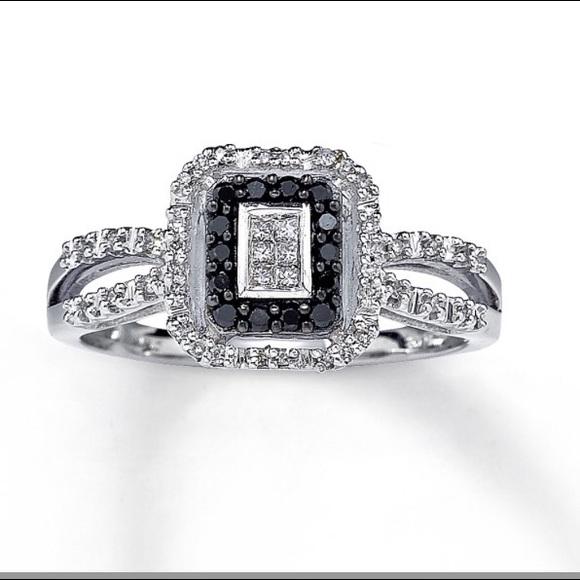 Wedding Rings Kay Jewelry.Black Diamond Ring 10k White Gold