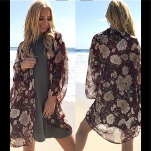 Other - Pretty Plum Kimono Floral Cover Up Cardigan