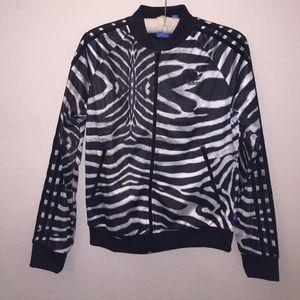 NWOT Adidas Zebra Printed Bomber