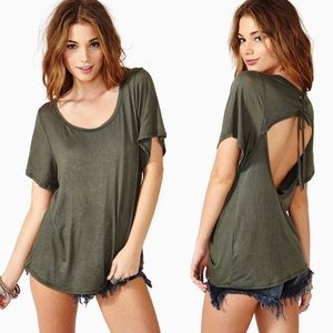 Nasty Gal Laced Out Open Back Tee in Army Green