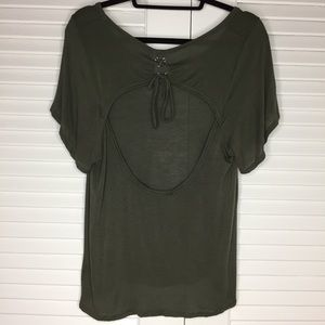 Nasty Gal Tops - Nasty Gal Laced Out Open Back Tee in Army Green