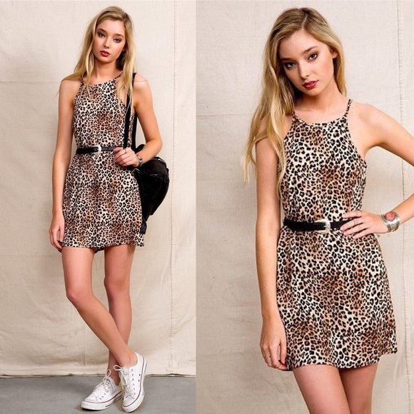 Urban Outfitters Dresses - Urban Renewal High Neck Animal Print Dress
