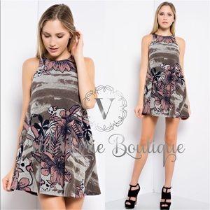 ValMarie Boutique LLC Dresses & Skirts - Floral Camo Mini Swing Dress Tunic